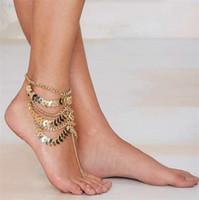 Frauen Gold Barfuß Münze Knöchel Kette Fußkettchen Armband Fuß Schmuck Sandale Strand