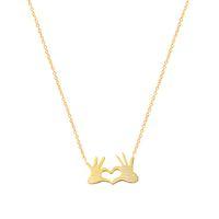 Splendidi racconti a catena in acciaio inossidabile con gioielli a doppia mano con pendenti con collane a cuore per donna Collana con dichiarazione in oro