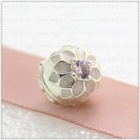 Nuevo 2016 Primavera 925 Sterling Silver Blooming Dahlia Clip Charm Bead con esmalte y Cz se adapta a European Pandora Jewelry Bracelets Necklace