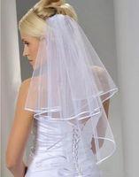 무료 배송 화이트 아이보리 2 층 빗 웨딩 베일 웨딩 액세서리 리본 가장자리가있는 짧은 신부 베일
