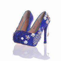 2017 великолепный Золушка Пром обувь горный хрусталь с Феникс свадьба обувь ручной работы женщин насосы синий розовый фиолетовый плюс размер