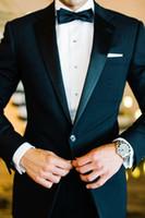 Bir Düğme Yan Yarık Klasik Fit Notch Yaka Damat Smokin Sağdıç Suit Düğün Parti Suit (Ceket + Pantolon + Papyon + Kuşak)
