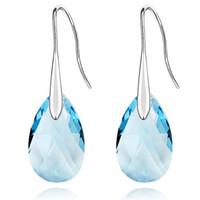 Moda orecchini lunghi realizzati con Swarovski Elements austriaco di cristallo goccia d'acqua ciondola gli orecchini per le donne gioielli in oro bianco 18 carati placcato 310
