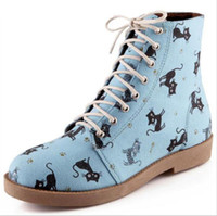 Cartoon animation new arrive cat lace up autumn winter women...