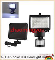 YON 60 LED LED solar reflector al aire libre Enfriar sensor de movimiento PIR blanca Proyector LED lámpara para la pared camino de iluminación de emergencia