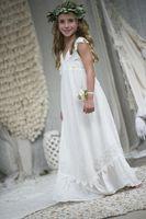 비치 Boho 웨딩 게스트 드레스 여자를위한 쉬폰 레이스 정장 파티 가운 신성한 성찬 드레스 라인 여름 소녀 스커트