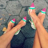 Sophia Webster Design Sandalo anguria Scarpe donna PVC trasparente Donna Sandali gladiatore Runway Scarpe estive Sandalo Slingback Mujer 42