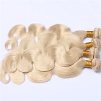 Vente chaude Pure Color # 613 Cheveux Humains 4 Faisceaux Double Trame Ondulée Corps Ondulés Cheveux Tisse 10-30 Pouces Blonde 613 Extensions de Cheveux
