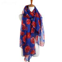 Las mujeres elegantes Amapola Mezcla suave Bufanda, Mujeres Moda Otoño elegante diseño de la amapola roja del mantón señoras de la flor de impresión Bufanda Chal Beach