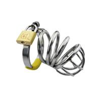 2018 ultimo medio formato maschio acciaio inossidabile cazzo cage anello cintura di castità dispositivo di arte bdsm giocattoli del sesso a014