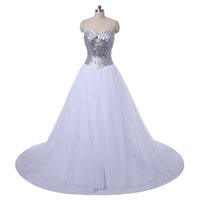 Sweetheart Crystal Beaded Ball Gown Wedding Dress 2016 Roman...