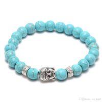 Pierre de lave naturelle turquoise perles de prière charmes bracelets anti-fatigue argent Bouddha Rock volcanique hommes femmes diffuseur bijoux