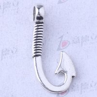 Rétro poisson crochets pendentif argent antique / bronze pour bricolage bijoux pendentif fit collier ou bracelets 200pcs / lot 3498