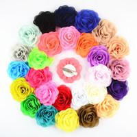 Flor rosa de 8cm Chiffon Tecido com clipe de jacaré para acessório de cabelo de bebê 24 pcs / lote