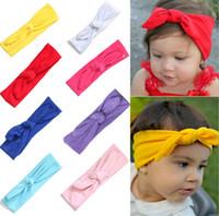 10 ألوان الطفل بنات الصرفة آذان أرنب عقال الاطفال bowknot strechy عقدة عقال لطيف الأزياء هيرباند الأطفال اكسسوارات للشعر