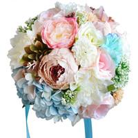 Sıcak Satış Bahçe Plaj Vintage Düğün Dekorasyon Yapay Nedime Çiçek Ipek Gül 18 adet WF053 Üst Gelin Düğün Buketi