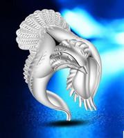 Banhado A Prata Coreano 925 jóias de prata esterlina, Rosa Retro, águias asas abertas, anel de águias