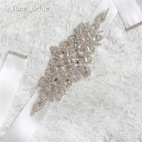 Günstige Auf Lager Bridal Schärpen Gürtel Free Size Crystal Shinny Elegante Frauen Gürtel Elfenbein White Ribbon Kostenloser Versand Ready to Ship