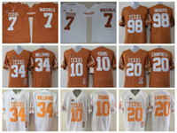 2017 Texas Longhorns 7 Shane Buechele College Football Maglie 10 Vince Young 34 Ricky Williams 20 Earl Campbell 98 Brian Orakpo Colt McCoy