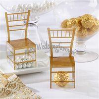 Livraison Gratuite 12 pcs De Mariage Faovrs Miniature Clair PVC Or Chaise Faveur Boîtes De Fête Faveurs Événement Décor Fournitures