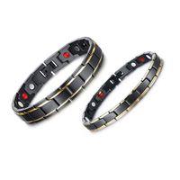 Bracelet de l'amant de Coulples chaud en acier inoxydable plaqué or noir Watch Link Bracelets avec bracelet en pierre de soins de santé magnétique pour hommes dames