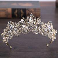 Jane Vini Pearls Diamond Wedding Coronas para Briade Headpieces Headbands Mujeres Crystal Jewel Tiaras Quinceañera Birthday Head Accessories