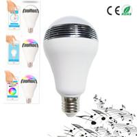 Интеллектуальный потолок ac90v-240В 10Вт динамиками лампа динамик с регулируемой яркостью E27 из светодиодов RGB света музыка лампы цвет через приложение управления беспроводной