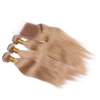 Sıcak Satış 27 Sarışın Saç Kapatma Ile 4X4 Ağartılmış Knot 9A Ile Brezilyalı İnsan Saç Düz Bal Sarışın Saç Örgüleri dantel Kapatma