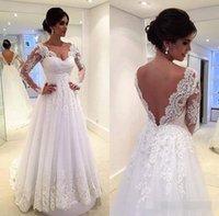 Cheap Vestidos de Novia V шеи кружева шнурок плюс размер без спинки линии тюль свадебные платья полные длинные рукава зимние свадебные платья