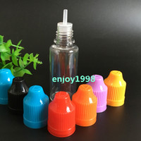 Günstigste löschen Nadel Flasche 20ml Plastiktropfflaschen Bunte Kinderbeweis Caps PET E Cig E Flüssigkeit leere Flasche 1800pcs / Karton geben Schiff frei