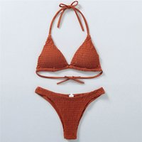 Smocked Bikini Set Swimsuit Women Sexy Bikini Pleated Swimwe...