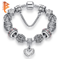 BELAWANG Fashion Silver Plated Heart Crystal Women Charm Bea...