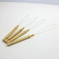 Ziehen von Nadelschlaufe Fädelholzgriff Nadeln für Mikroperle Human Haare Haarverlängerungen Werkzeuge auf Lager