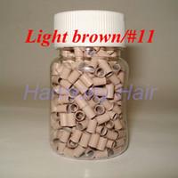 1000pcs / bottle 3.0mmx2.6mmx6mm مايكرو النحاس خواتم الروابط / الخرز لأدوات الشعر ملحقات 8 ألوان