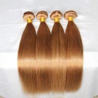 Top 10A Brazilian Honey Blonde paquete de cabello humano Ofertas 3pcs Lot # 27 Strawbery Blonde brasileño cabello humano teje extensiones de seda recto