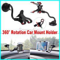 Supporto per cellulare per auto mobile Rotazione a 360 gradi Parabrezza per auto Ventosa Doppia clip Staffa di montaggio per iPhone7 Telefono cellulare GPS PDA DHL libero