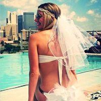 2017 Wedding Bikini Veils Two Layer Bridal Veil Bachelorette Ribbon Edge Party Veils Short White Wedding Veil