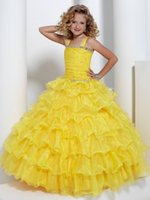 Strati gialli brillanti Perline in organza Flower Girl Dress Abiti da spettacolo per bambina Princess Holiday Skirt Custom Size 2-14 H907047