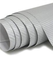 Envío gratis para 152 cm x30 metro 3d plata fibra de carbono etiqueta engomada del embalaje del coche con aire libre y drenaje