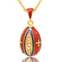 """Fleur de lis faberge forma de huevo collar colgante Moda europea estilo de huevo ruso 16 """"cadena de chapado en oro incluido"""