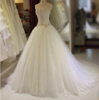 Beaded Crystal Ball Gown Wedding Dress With Appliques 2017 R...