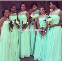 Бесплатная доставка! 2017 длинные зеленые платья подружки невесты одного плеча длинное выпускное платье дешевые свадебные платья Vestidos de Noiva