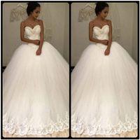 Без бретелек сексуальный 2020 новый белый бисером кружево и тюль бальное платье свадебное платье vestidos de noiva свадебные платья свадебные платья для невесты