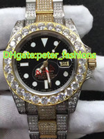 Full ice black face diamond watchcase bi- gold new watches fa...