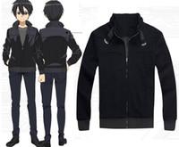 Personaggio dei cartoni animati COS Sword Art Online Kirito alta qualità Anime Cosplay Costume Cappotto con cappuccio nero Halloween