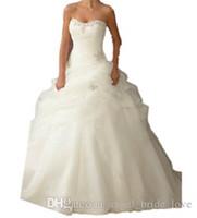 2018 venta caliente en stock sexy sin tirantes A-line Beads Lace Up Organza Sweep Nuevo Llegada Vestidos de novia Vestido de Noiva Tamaño 2-16 WD01