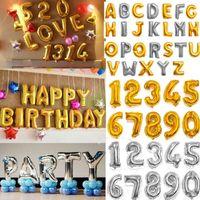 32 인치 헬륨 공기 풍선 번호 편지 모양의 골드 실버 풍선 풍선 생일 웨딩 장식 이벤트 파티 용품 2000 OOA2647