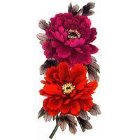 4 Pcs / 팩 여성을위한 아름다운 작약 꽃 방수 대형 임시 문신 스티커 보석 바디 아트