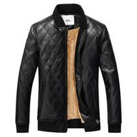 Toptan-kış ceket erkek deri ceket ceket marka giyim sıcak kürk ceket erkekler kalın kadife PU jaqueta couro ceket aşağı ceket erkekler
