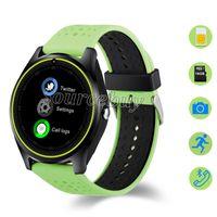 V9 Bluetooth Smartwatch Android Samsung Akıllı Saatler SIM Akıllı Cep Telefonu İzle Kayıt Uyku Pasometre Spor İzle PK V8 DZ09